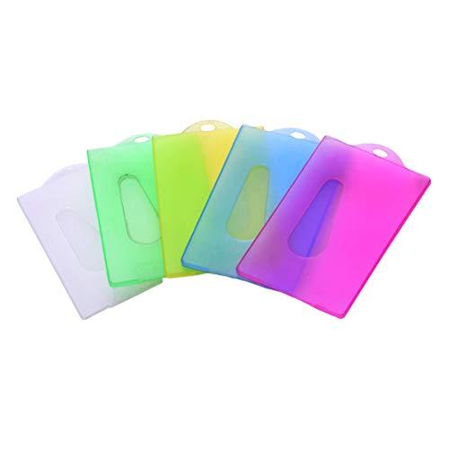 Toyvian 20 protectores de plástico para tarjetas de identificación, tarjetas de autobús, tarjetas de estudiante con agujero para empleados (color al azar)
