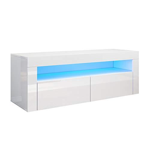 SONNI TV Board Fernsehtisch Lowboard mit LED-Beleuchtung(12 Farben können eingestellt Werden) 120x40cm Weiß Hochglanz TV Schrank Fernsehschrank