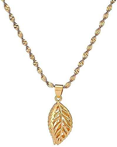 AOAOTOTQ Co.,ltd Necklace Chunky Hollow Leaf Necklaces Pendants for Woman Chokers Collar Water Wave Chain