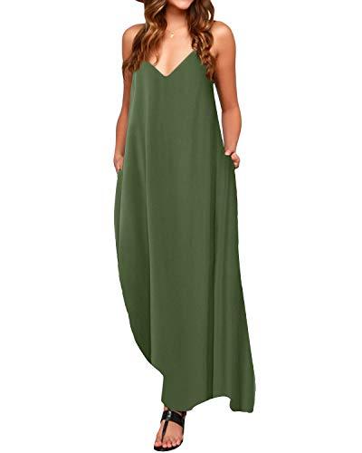 ACHIOOWA Mujer Vestido Elegante Playa Casual Dress Cuello V