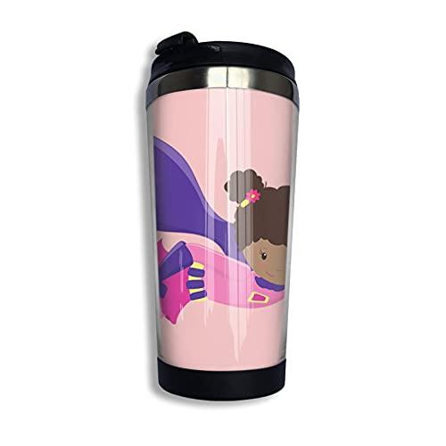 Tazas térmicas African American Girl, Purple Cape, Girl Pullover Hoodie Taza de café de viaje y taza de té termo al vacío de acero inoxidable 400ml