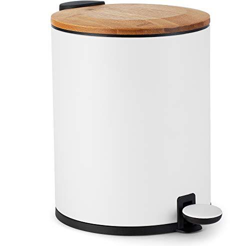 Kazai.® Bambus Kosmetikeimer | Absenkautomatik und rutschfest | 5 Liter | Weiß