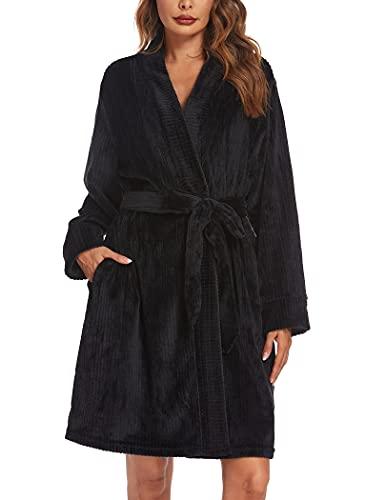 Ekouaer Damen Bademantel Velours Morgenmantel Microfaser mit Praktischen Taschen Kuschelfleece Nachthemden V-Ausschnitt Schwarz,M