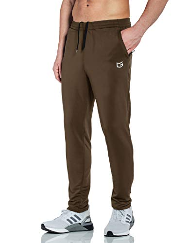 G Gradual Men's Sweatpants with Zipper Pockets Tapered Track Athletic Pants for Men Running, Exercise, Workout (Dark Brown, Medium)