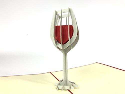 Glas rode droge wijn Frans/Italiaans/Australische pop-up kaart wenskaart Hobby Verjaardagskaart