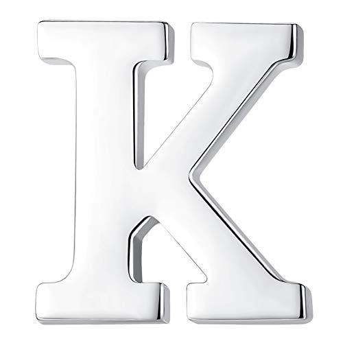 HONEY BEAR 1 Stück Buchstaben Brief Broschen Pins A bis Z, Edelstahl für Herren/Damen Anzug Hemd, Geschäft Hochzeit Geschenk,Silber,MEHRWEG (K)