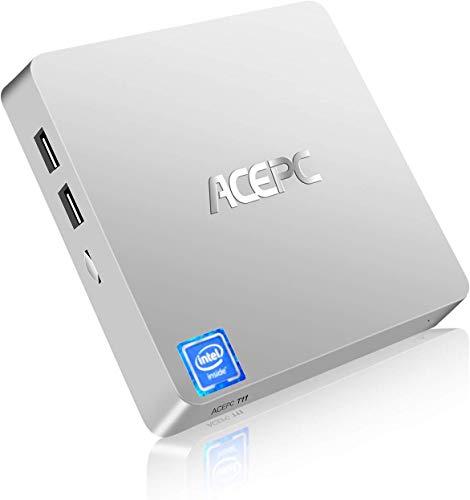 "ACEPC T11 Micro Mini PC Intel Atom x5-Z8350 Fanless Windows 10 Pro (64 bit) Desktop Computer 4GB DDR / 64GB EMMC, Support 2.5""mSATA SSD/Dual Band WiFi/BT 4.2 / 4K / HDMI + VGA / 1000Mbps LAN"