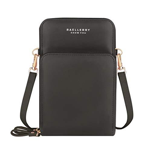 Jangostor kleine Crossbody Tasche Handy - Tasche Brieftasche mit Credit Card Slots für Frauen (Black-B)
