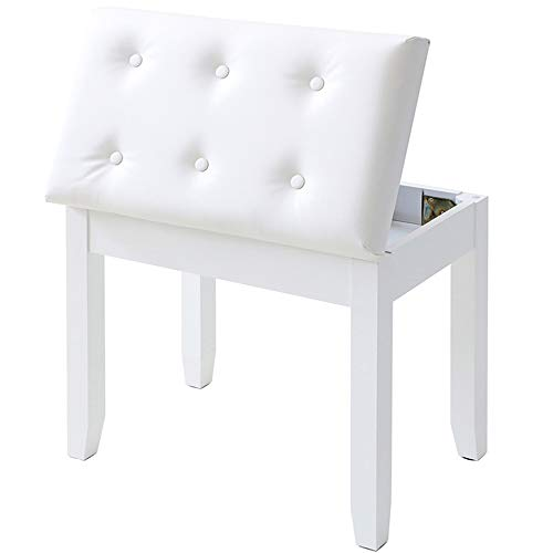 IWELL Piano Bench with Solid Wood Leg, Keyboard Bench Stool with Large Music Storage, Thick Padded Leather Cushion Chair, Capacity 330LBS, for Women, Girl White