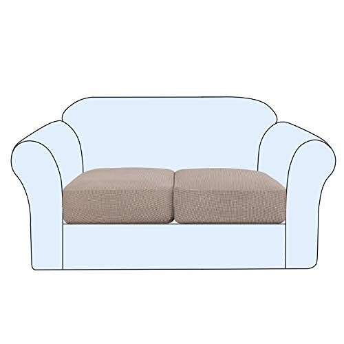 Stretch Cushion Cover Sofa Cushion Covers 2 Seaters Furniture Protector Loveseat Sofa Covers Washable Sofa Cushion Cover Sets Flexibility with Elastic Bottom (2-Piece Loveseat Cushion,Sand)