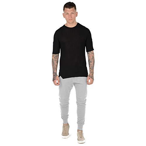 MyShoeStore - Pantaloni aderenti da uomo, aderenti, in pile, con risvolto, con risvolto, alla caviglia, stile casual, palestra, allenamento, allenamento e jogging Grigio L