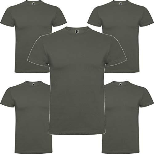 Pack 5 | Camiseta Hombre Manga Corta | Algodón Peinado | Cuello Redondo | Punto Liso (Verde Militar Oscuro, M)