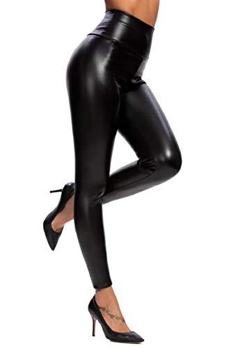 Yuson Girl Donna Ecopelle a vita alta Leggings, Leggings Pantaloni da Donna in Pelle, Aspetto in Similpelle PU Soft Stretch Skinny