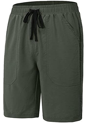 MoFiz Pantalones cortos de verano casuales con cordón para mujer, ajuste relajado, yoga, correr, fitness, pantalones cortos, Verde militar, S