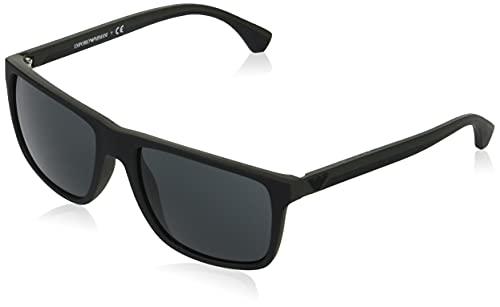 Emporio Armani Ea4033 - Gafas de sol para hombre, negro/verde Rubber (586587)