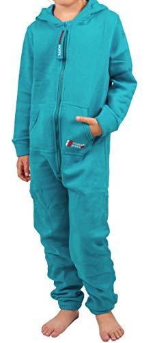 Gennadi Hoppe Kinder Jumpsuit - Jungen, Mädchen Onesie Jogger Einteiler Overall Jogging Anzug Trainingsanzug, türkis,122-128