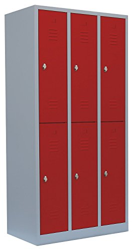 Schließfachschrank Wertfachschrank Fächerschrank Spind Umkleideschrank 6 Fächer-Spint Rot 520234 Maße:1800 x 885 x 500 mm (Höhe x Breite x Tiefe) kompl. montiert und verschweißt