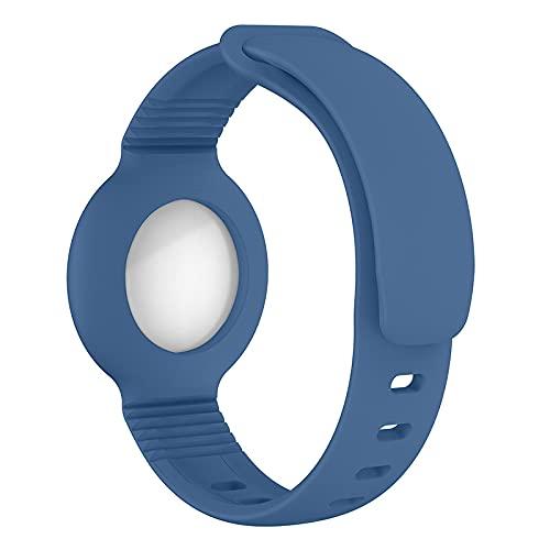 KURT HOME Pulsera de silicona prémium clásica y moderna funda Apple AirTag ajustable para niños pequeños, niñas, jóvenes, personas mayores (azul claro).