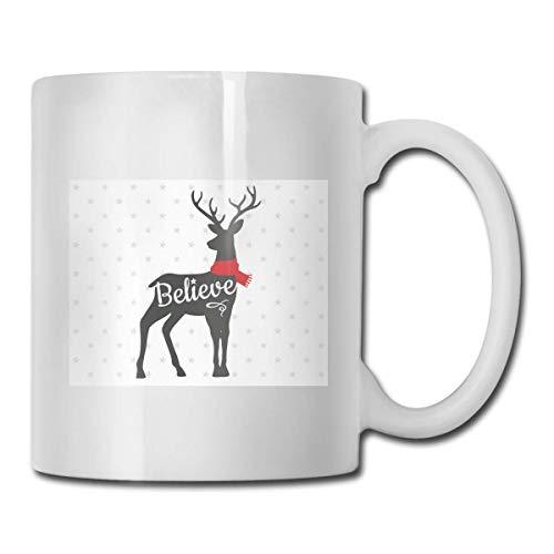 Taza Believe Christmas Deer, taza de café para bebidas calientes, taza de gres, taza de café de cerámica, taza de té de 11 onzas, divertida taza de regalo para té y café