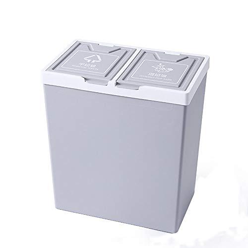 LOKIH Double-layer natte en droge vuilnis sorteerkast, keuken, badkamer, woonkamer, prullenbak, grote capaciteit droog en nat sorteren vuilnisbak, overdekte kantoorkoffie