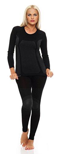 Ski-ondergoed voor dames 1 set lange mouwen, functionele thermische kleding zonder vervelende naden zwart grijs maat L/XL