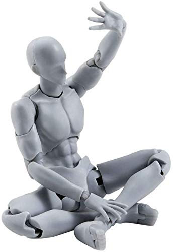 Gray Action Figure Model, Artists Sketch Movable Limb Action Figure Model,Flexible Body Human Mannequin Kit,Articulated Kids Student Assemble Painting Toy,with Display Base and Pose Parts~Ab