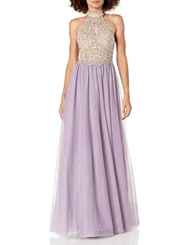 Blondie Nites Women's Long mesh Ballgown Heavy Beaded high Neck, Lavender/Nude, 3