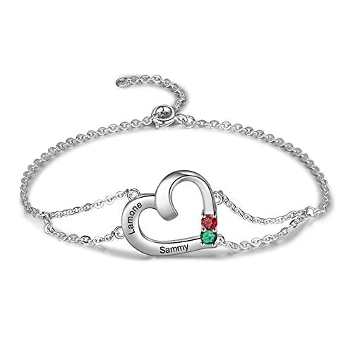 Pulsera personalizada de 1/2 nombres con corazón para mujer, pulsera de plata con piedras natales con grabado para mamá, niñas, pulsera con dijes en el día de la madre, cumpleaños (2 Nombre)