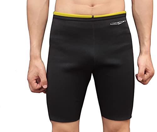 NOVECASA Pantalones Cortos Sauna Hombre Neopreno Sauna Pants Deportivo para Sudoración Culturismo Quema Grasa Adelgazante (M, Negro-Amarillo)