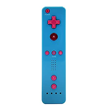 Wii Remote Controller,Wireless Remote Gamepad Controller for Nintend Wii and Wii U,with Silicone Case and Wrist Strap No Motion Plus ,Blue with Pink Back