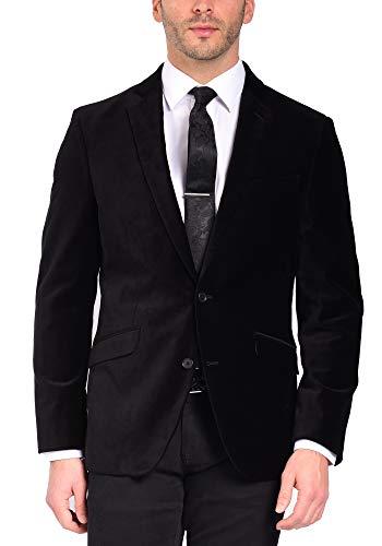 Craft & Soul Men's Slim Fit Stretch Velvet Blazer Jacket Sport Coat Black