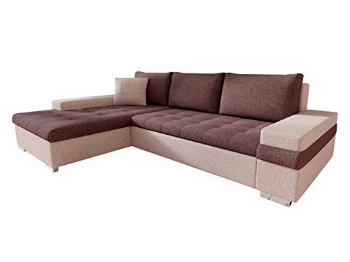 Mirjan24 Design Ecksofa Bangkok Mini, Moderne Eckcouch mit Schlaffunktion und Bettkasten, Ecksofa für Wohnzimmer, Gästezimmer, Couch L-Form, Wohnlandschaft (Kamet 11 + Kamet 10)