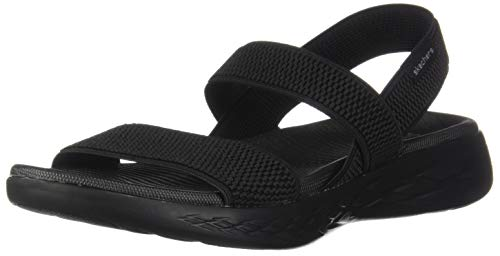 Skechers Damen On-The-go 600-Flawless Slingback Sandalen, Schwarz (Black/Black BBK), 38 EU