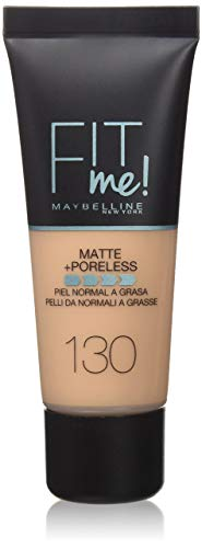Maybelline New York Base de Maquillaje Fit Me (Mate y Sin poros), Tono 130 Buff Beige - 30 ml