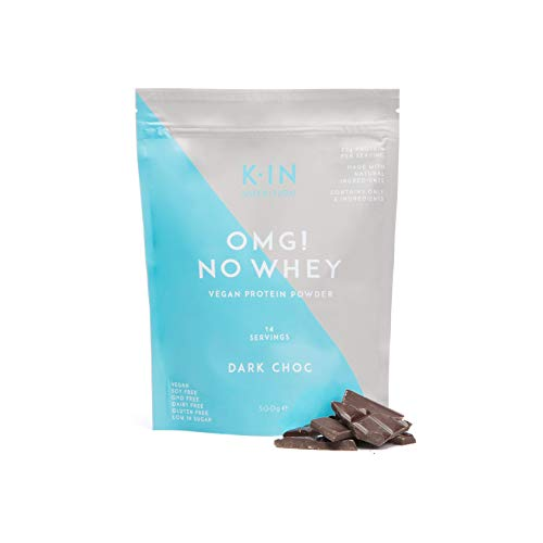 KIN No Whey Chocolate Vegan Protein Powder with Probiotics and Flaxseed, 35 g, Plant Based Non-GMO, Gluten and Dairy Free Supplement for Men and Women, Low in Sugar