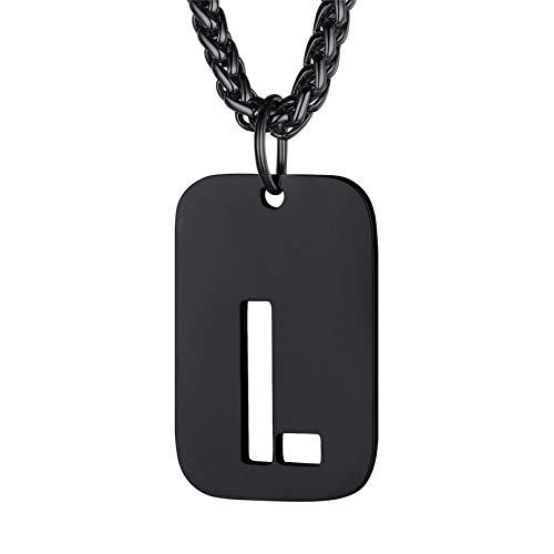 bandmax Collar Chapa Letra Colgante Militar con Inicial de Nombre Letra L Cadena Hombre Mujer Acero Negro