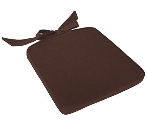 KMH®, Sitzkissen aus Baumwolle (braun) mit Schleifenbändern (besonders gut geignet für Rattanstühle) (#205198)