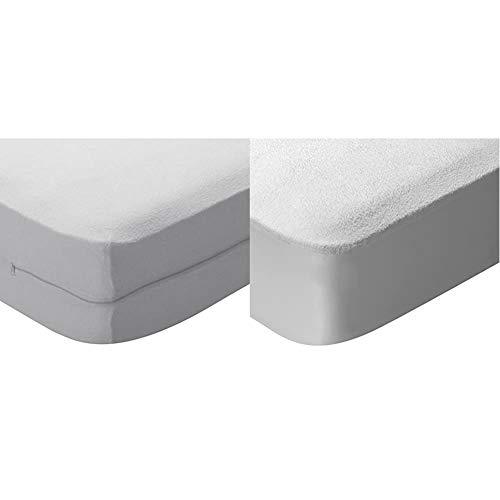 Pikolin Home - Funda de colchón Rizo algodón, bielástica, 105x190/200cm-Cama 105 + Home - Protector de colchón en Rizo algodón, Impermeable y Transpirable, 105x190/200cm-Cama 105(Todas Las Med