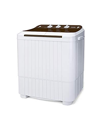 Washing Machine, 16.5lbs Compact Twin Tub Wash&Spin Combo for Apartment, Dorms, RVs, Camping and More, White&Brown