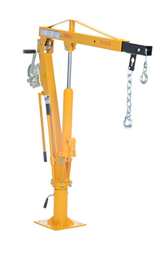 Vestil WTJ-4 Painted Steel Winch Truck Jib Crane, 1000 lb Extended Capacity, Extended Usable Reach 46', Extended Maximum Hook Height 77-1/2', Yellow