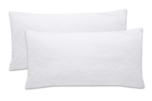 ZOLLNER 2 Fundas de Almohada 40x80 cm, Blancas, algodón 100%