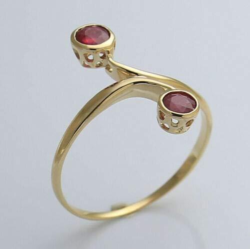 Nuevo estilo antiguo, exclusivo, anillo de oro 333 auténtico, 2 rubíes originales de color rojo, anillo de oro amarillo, amor, esperanza, emoción, símbolo, diseño, obsequio, extravagante, muy bonito