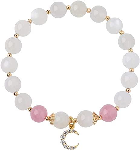 Pulsera de buena suerte Feng shui pulsera natural blanco luna de luna fresa cristal luna diamante brazalete buena suerte afortunado durazno flor rico amuleto pulsera para mujeres, Un gran regalo como