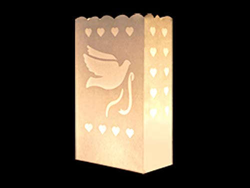 COOLMP Lot de 3 - Lanterne de Jardin Colombe & Coeur Blanc