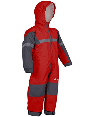OAKI Rain & Trail Suit - Kid &Toddler - Girl & Boy One Piece Rain Jacket & Pant Deep Red