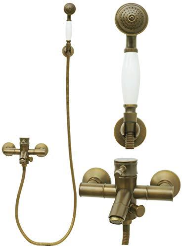 Badewannenarmatur mit Handbrause Antik Retro Brauseset Wannenset Mischbatterie Duschkopf Einhandmischer Armatur