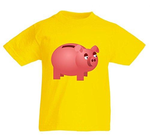 Camiseta con inscripción 'EinspARUNGEN IM Feld- Schwein- SPARSCHWEIN- monetario- EinSPARUNGEN- FINANZEN- WOHLSTAND- REICHTUM- Gold- Bank- Markt für Herren- Damen- Kinder- 104-5XL amarillo Para Hombre Talla : Medium