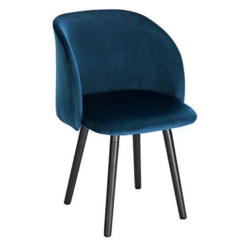 WOLTU Esszimmerstühle BH121bl-1 Küchenstuhl Wohnzimmerstuhl Polsterstuhl Design Stuhl mit Armlehne, Sitzfläche aus Samt, Gestell aus Massivholz, Blau