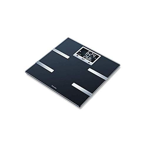 Beurer BF-720 Báscula digital diagnóstica con IMC función bluetooth de vidrio, app health manager, 180 kg, pantalla LCD retroiluminada, grandes dígitos 2.3 cm, color negro