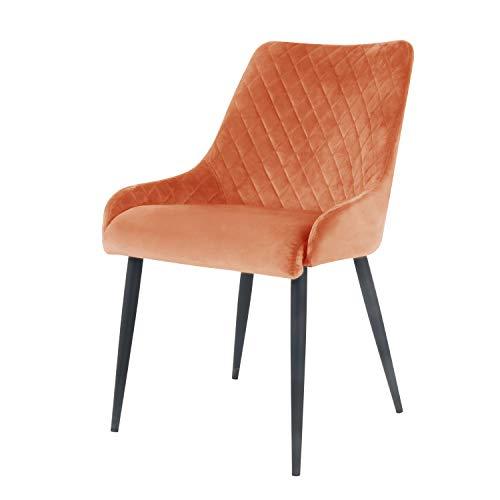 Damiware Bella Stuhl | Design Wohnzimmerstuhl Esszimmerstuhle Bürostuhl mit Stoffbezug | (Samt Orange)